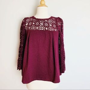 🌈 NEW Anthropologie lace crochet sleeves top